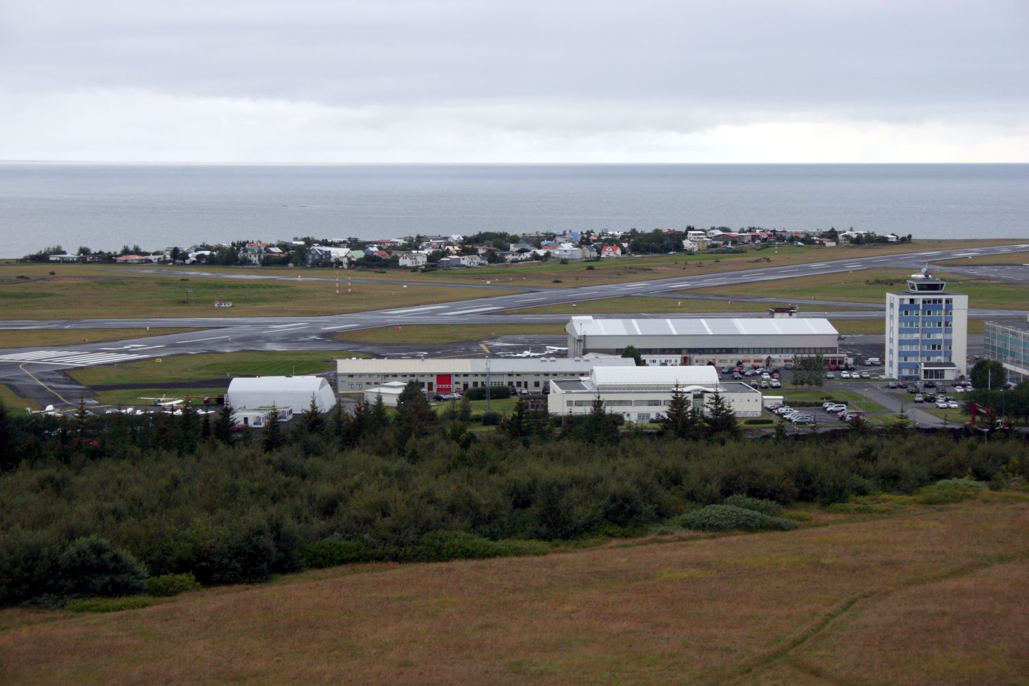 View over Reykjavik Airport from the nearby Perlan attraction.