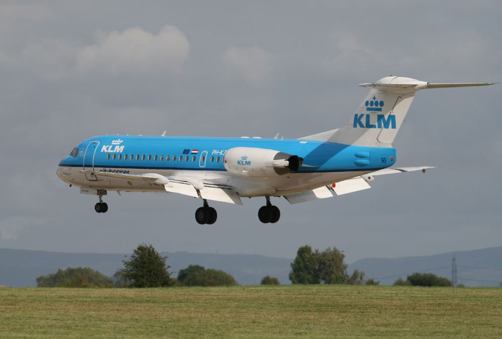 KLM Fokker 70 at Durham Tees Valley