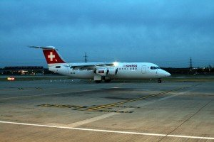 First departure of the day - Swiss RJ100