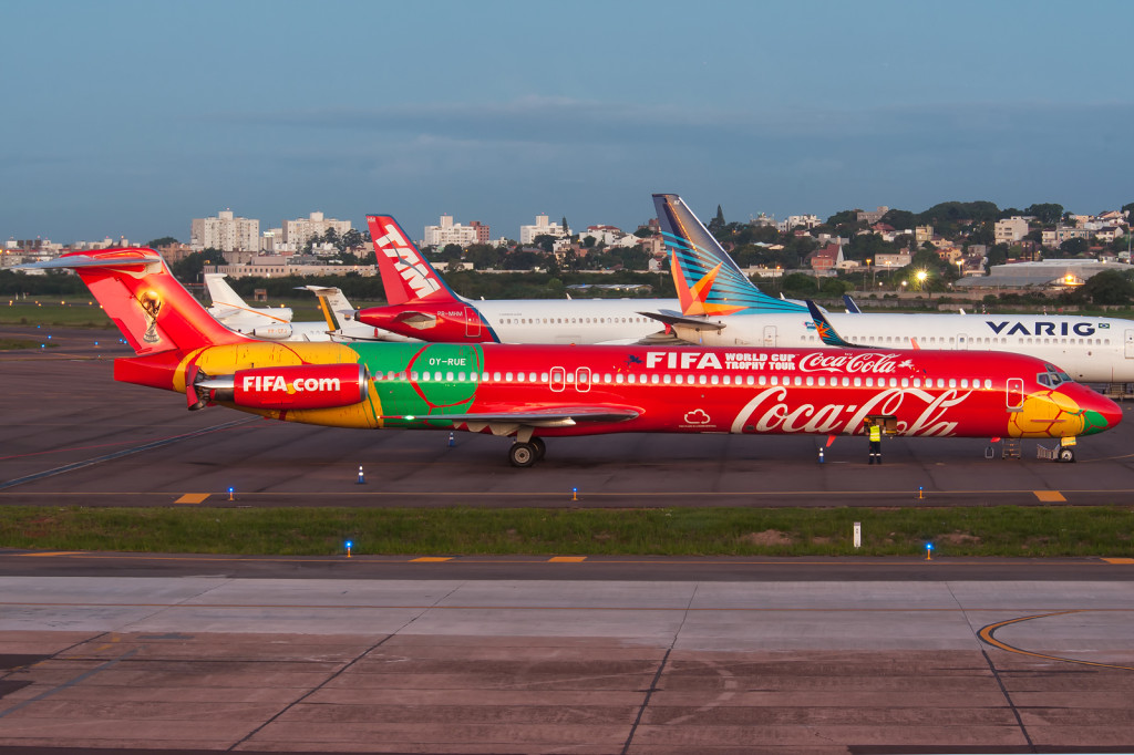 This DAT MD-80, OY-RUE, carries Coca-Cola/FIFA World Cup Trophy Tour scheme (c) Eduardo Teodoro