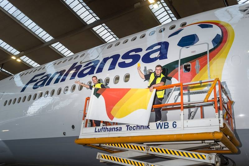 Lufthansa becomes 'Fanhansa' for the World Cup. A number of its aircraft have had the titles applied.