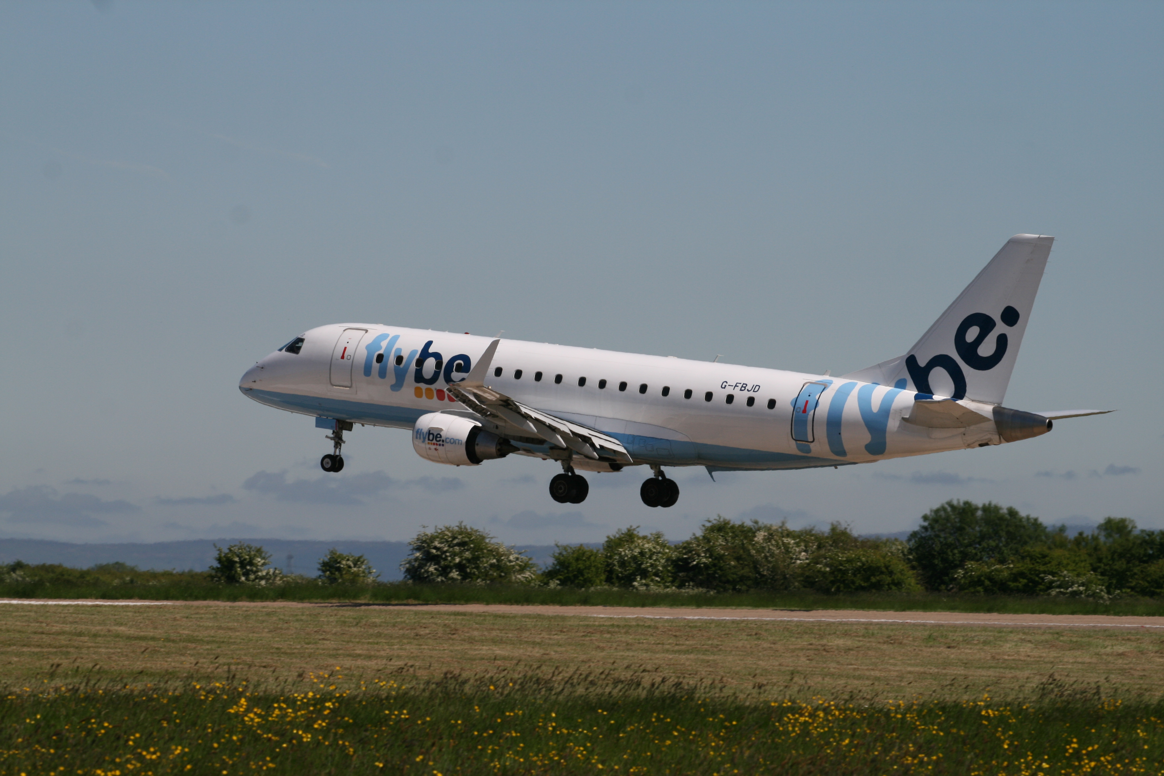 Flybe's Embraer 175 G-FBJD at Durham Tees Valley