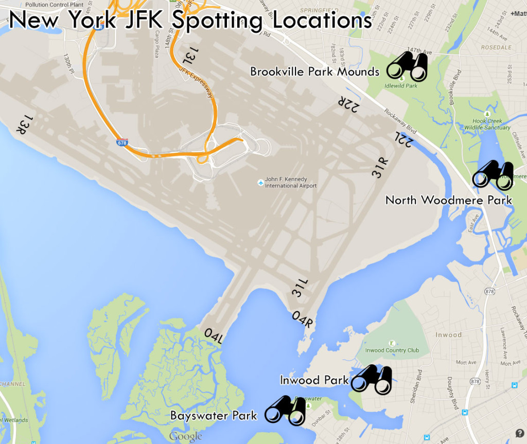 New York JFK spotting locations map