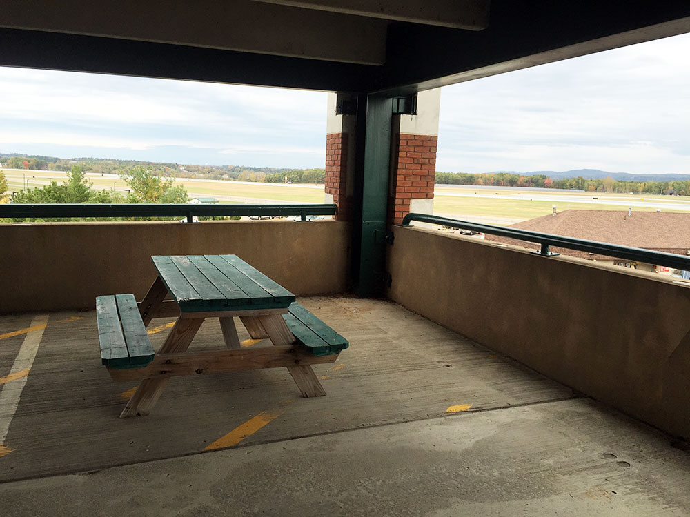 A seat for watching the aircraft in the multi-storey car park at Burlington Airport.