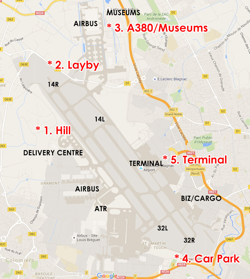 Toulouse Airport Spotting Map