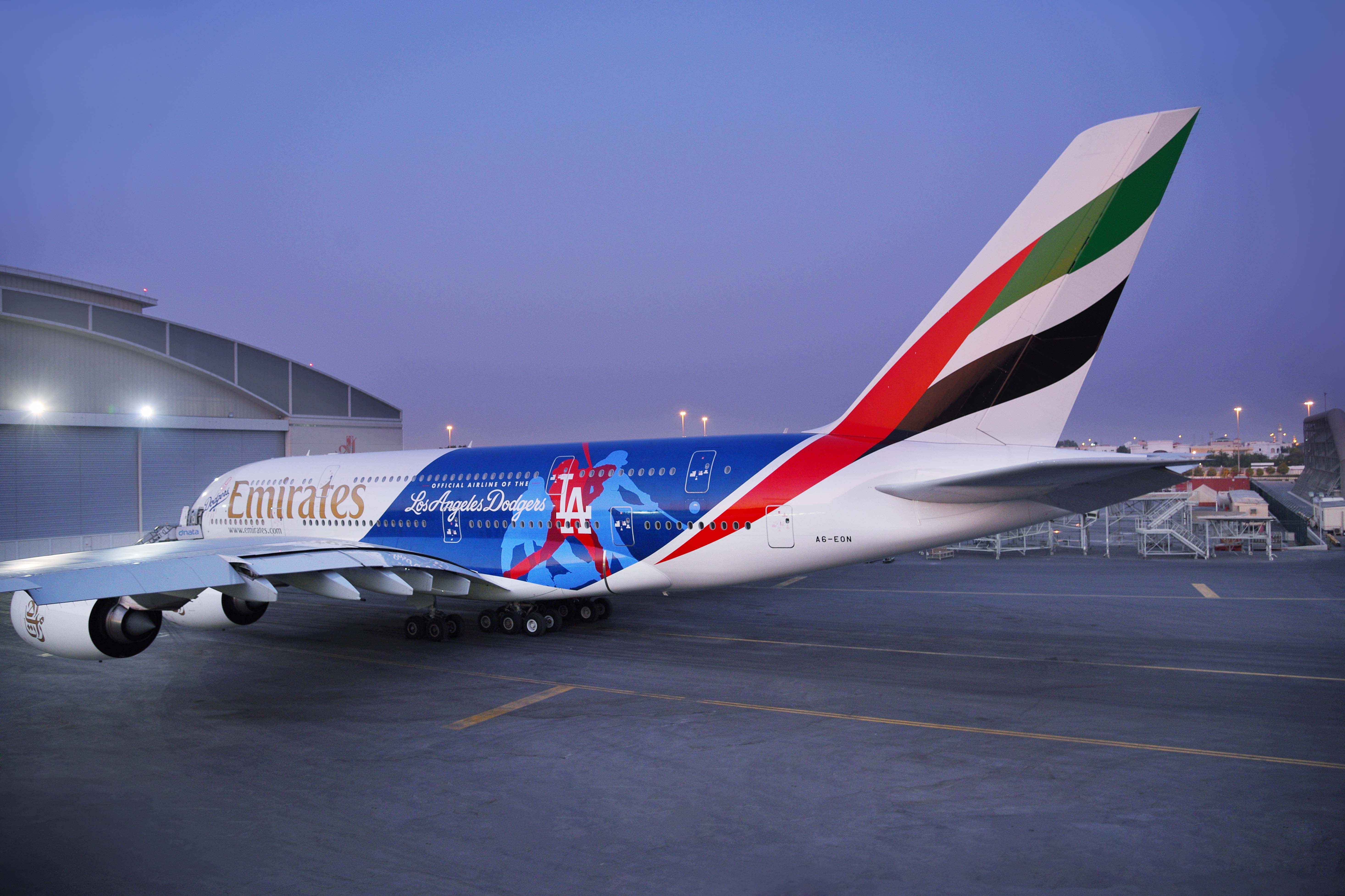 emirates adds a380 logo jet for los angeles airport
