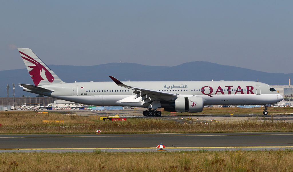 Qatar A350 at Frankfurt