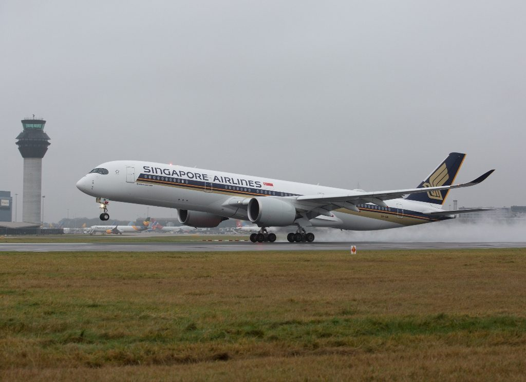 Singapore Airlines A350 takes off for Houston from Manchester Airport low res